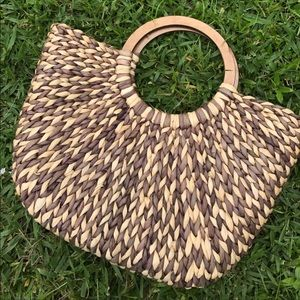 Huge Rattan Woven Bag with Wood Handles